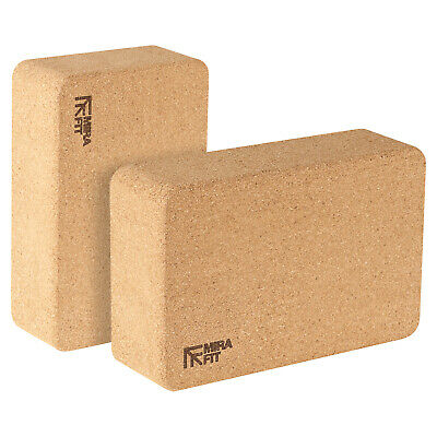 Mirafit 2 X Cork Exercise Yoga Block Fitness/Stretching Aid Brick Gym/Pilates • 19.99£