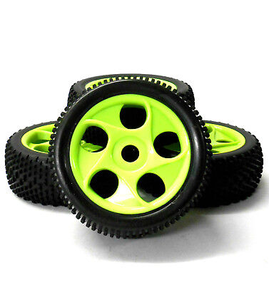 180073 1/8 Scale Off Road Buggy RC 5 Holes Wheels And Tyres Green X 4 • 20.99£
