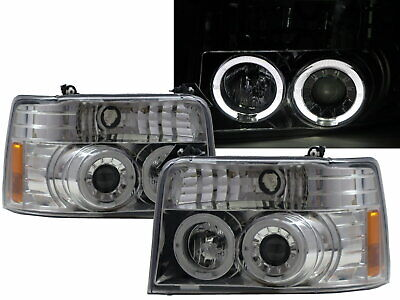 AU495.99 • Buy F150 F250 F350 1992-1996 LED Angel-Eye Projector Headlight Chrome For FORD RHD