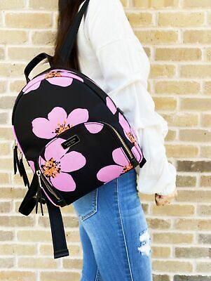 $ CDN259.50 • Buy Kate Spade Dawn Grand Flora Bradley Backpack Black Pink Floral