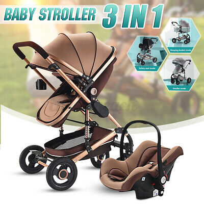 3in1 Baby Stroller Pram Car Seat Pushchair Carry Cot Travel System With Basket  • 169£