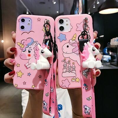 AU7.99 • Buy Cute 3D Cartoon Unicorn Doll Pendant  Stand + Strap Case Cover For Various Phone
