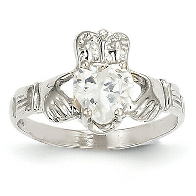 $228.99 • Buy 14k White Gold April Birthstone Claddagh Ring R502 Size 5