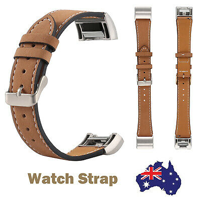 AU16.99 • Buy For Fitbit Charge 2 Brown Leather Replacement Wrist Watch Band Sports Straps