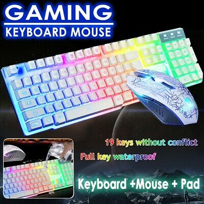 AU27.69 • Buy T6 Rainbow Wired Backlit Mechanical Gaming Keyboard Mouse Mice For Desktop PC Ho