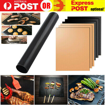 AU13.99 • Buy BBQ Grill Mat Reusable Bake Sheet Resistant Teflon Meat Barbecue Non-Stick Party