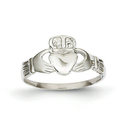 $119.99 • Buy 14k White Gold Polished Claddagh Ring K574 Size 6