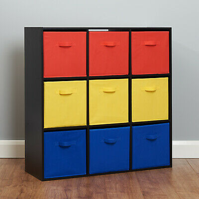 Black 9 Cube Kids Red Yellow & Blue Toy/Games Storage Unit Girls/Boys Bedroom • 66.99£