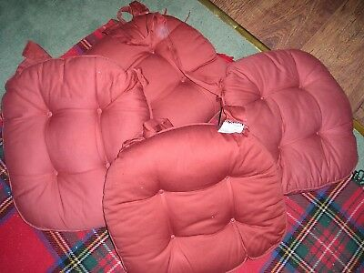 £9.99 • Buy 4 X DUNELM MILL SEAT CUSHIONS (42x 38 Cms) Burgundy Col  PERFECT CONDITION
