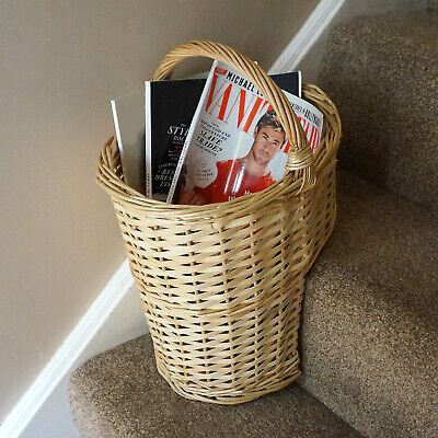 Oval Natural Wicker Stair Basket With Carry Handle Step Tidy/Organiser/Storage • 12.99£