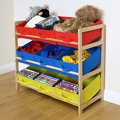 Yellow Blue & Red 3 Tier Toy Unit 9 Canvas Boxes/Drawers Kids/Childrens Storage • 24.99£