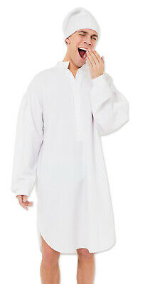 Mens Old Man Scrooge Victorian Night Shirt Grandad Fancy Dress Costume Outfit • 21.12£