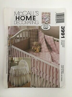 $4.20 • Buy McCall's Pattern #3991 Baby Bassinet Cover, Comforter, Bumpers And Dust Ruffle