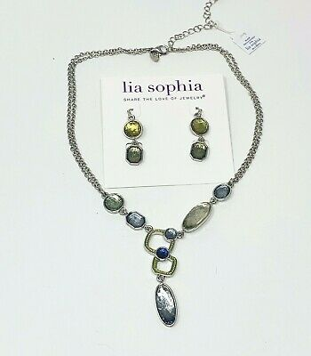 $ CDN32.43 • Buy Lia Sophia SELTZER Y Necklace & Earrings Set Blue Green Metallic Gemstones NWT