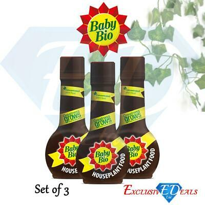 3 X Baby Bio House Plant Feed Food For Greener Leaves & Vibrant Colours 175ml • 9.95£