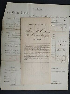 $45 • Buy New Hampshire Civil War: 1863 Henry Huntoon, 5th NH Discharge Papers