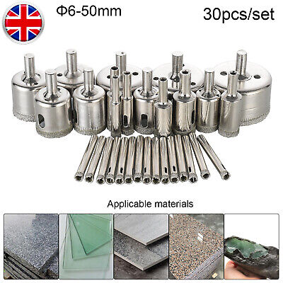30*Diamond Holesaw Set Holes Saw Drill Bit Tool Cutting Tile Glass Marble 6-50mm • 11.59£