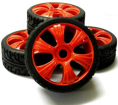 180027 1/8 Scale Buggy RC Wheels And On Road Tread Tyres 6 Spoke Red X 4 • 20.99£