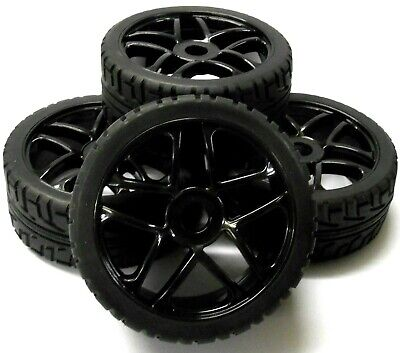 180083 1/8 Scale On Road Buggy RC 10 Spoke Wheels And Tyres Black X 4 • 20.99£