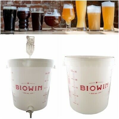 30 Litre FERMENTATION BUCKET CONTAINER Home Brew Beer Wine Making - TAP Optional • 12.99£