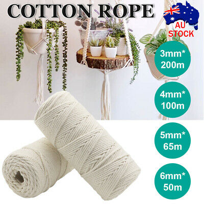 AU17.69 • Buy 3/4/5/6mm Natural Cotton Rope Cord String Twisted Beige Craft Macrame Artisan AU