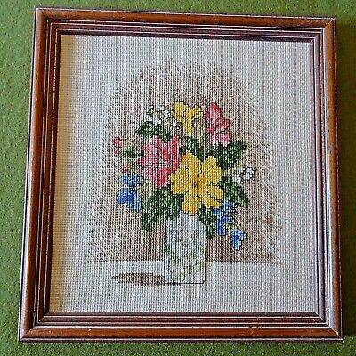 Finished Vintage Framed Cross Stitch Pictures Of  Flowers 26.5cm X 25.5cm • 4.99£