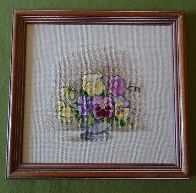 Finished Vintage Framed Cross Stitch Pictures Of Pansy Flowers 26.5cm X 25.5cm • 4.99£