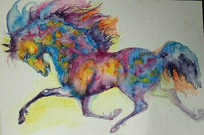 Original Watercolor Painting  Appaloosa Horse Running Art,horse Lover Best Gift • 39.46£