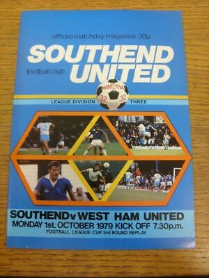 01/10/1979 Southend United V West Ham United [Football League Cup] . Thank You F • 2.99£