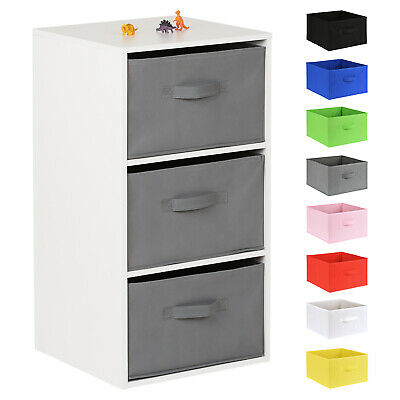 Hartleys White 3 Cube Kids Bedroom/Playroom Shelving Unit & Fabric Storage Boxes • 29.99£