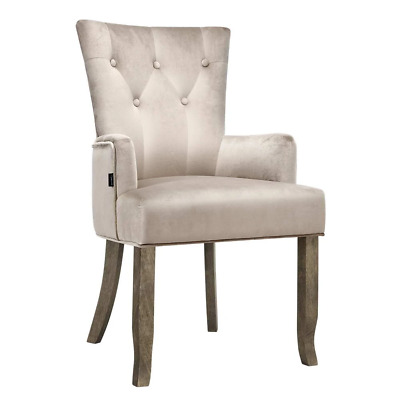 AU123.21 • Buy Artiss Dining Chairs French Provincial Chair Velvet Fabric Timber Retro Camel