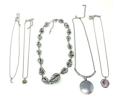 $ CDN32.30 • Buy Lot Of 5 Lia Sophia Silver Toned Necklaces Statement