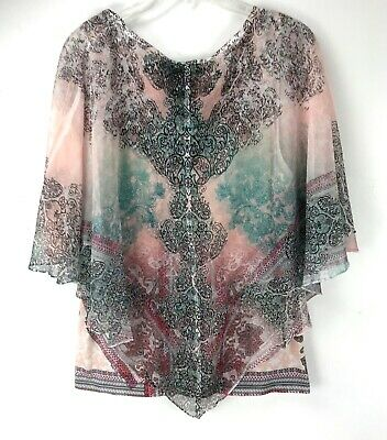 $18 • Buy LIVE AND LET LIVE Sheer Poncho With Cami Tank Boho Festival Blouse Top Women's L