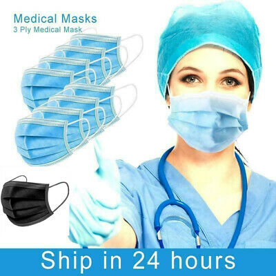 FACE MASK Surgical 1/10/20/30/50 3 Ply Earloop Mouth Nose Guard Protection Uk • 4.99£