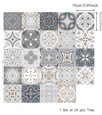 24Pcs Grey Patterned Mosaic Tile Stickers Transfers For 150mm X150mm / 6 X6 Inch • 6.99£