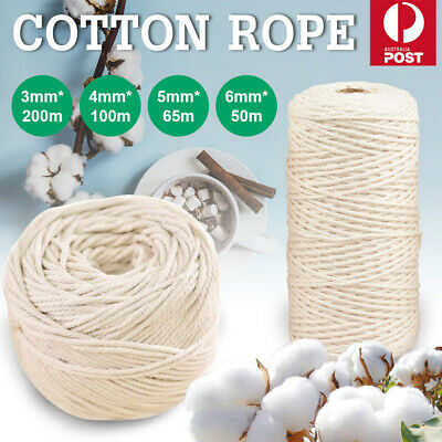 AU17.92 • Buy 3/4/5/6mm Natural Cotton Rope Cord String Twisted Beige Craft Macrame Artisan