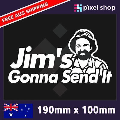 AU5.99 • Buy Jims Gonna Send It Sticker Decal Funny YTB Beer 190mm 4WD Ute Tradie Car Gifts
