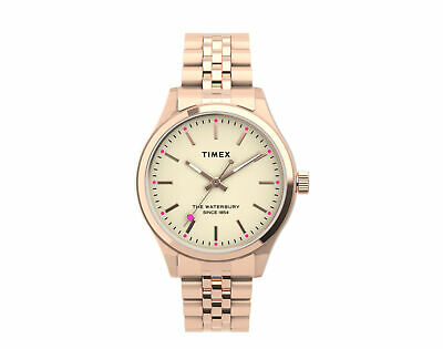 $128.95 • Buy Timex Waterbury Neon Glow 34mm Stainless Steel Rose Gold Watch TW2U23300VQ