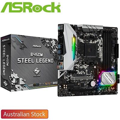 AU170 • Buy ASRock B450M Steel Legend AMD AM4 Socket M-ATX Gaming Motherboard DDR4 M.2 TypeC