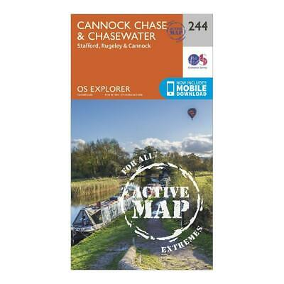 New Ordnance Survey Explorer Active 244 Cannock Chase & Chasewater Map • 11.99£