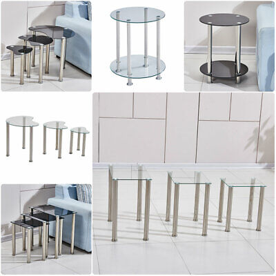 Nested Table Glass Top Side Beside Sofa End Nest Of Table Living Room Home UK • 35.99£