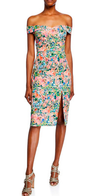 $49.99 • Buy Aidan Mattox Floral Off-the-Shoulder Crepe Dress Size 12 Sweetheart Banded $195