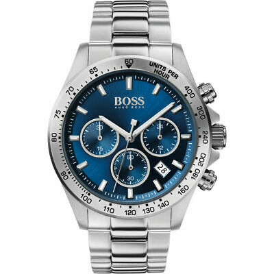 Brand New HB1513755 Hugo Boss Men's Hero Sport Lux Blue Silver Watch UK STOCK • 110£