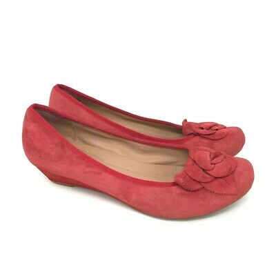 $29.99 • Buy Hotter Comfort Concept Womens Periwinkle Ballet Shoes Red Flower Low Wedge 8.5