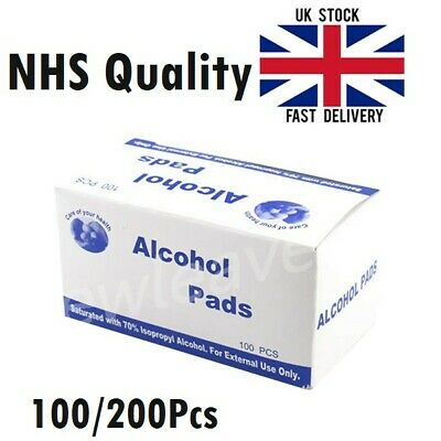 70% Isopropyl Alcohol Wipes Antiseptic Pre-Injection Swabs Nail Piercing Tattoo • 6.80£