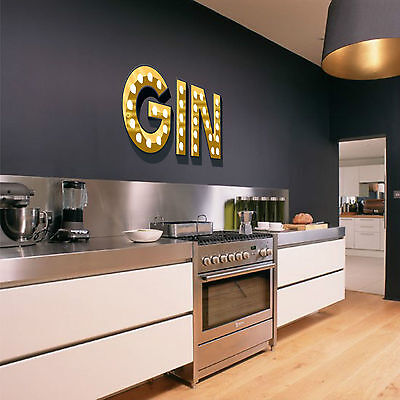 GIN Light Up Illuminated Effect Letters Trendy Wall Sticker Decal Art Kitchen • 9.99£