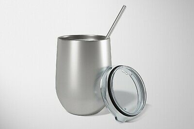 $12.99 • Buy Stemless Steel Wine Tumbler Double Wall Vacuum Insulated 12 Oz With Metal Straw