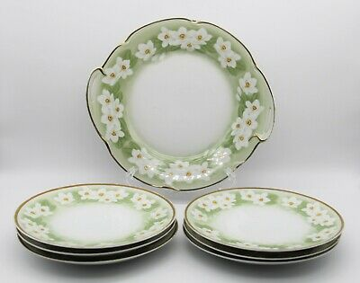 $84.99 • Buy 7 Pc Set J C Louise Bavaria Daffodil 2 Handled Platter And Luncheon Plates 7.5