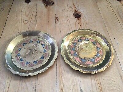 Pair Of Brass Engraved And Coloured Elephant Plates Indian • 18£