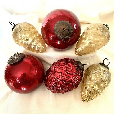 "$ CDN47.99 • Buy Vintage MERCURY GLASS CHRISTMAS TREE ORNAMENTS ~ Lot Of 6 ~ 4"" Length ~ Red Gold"